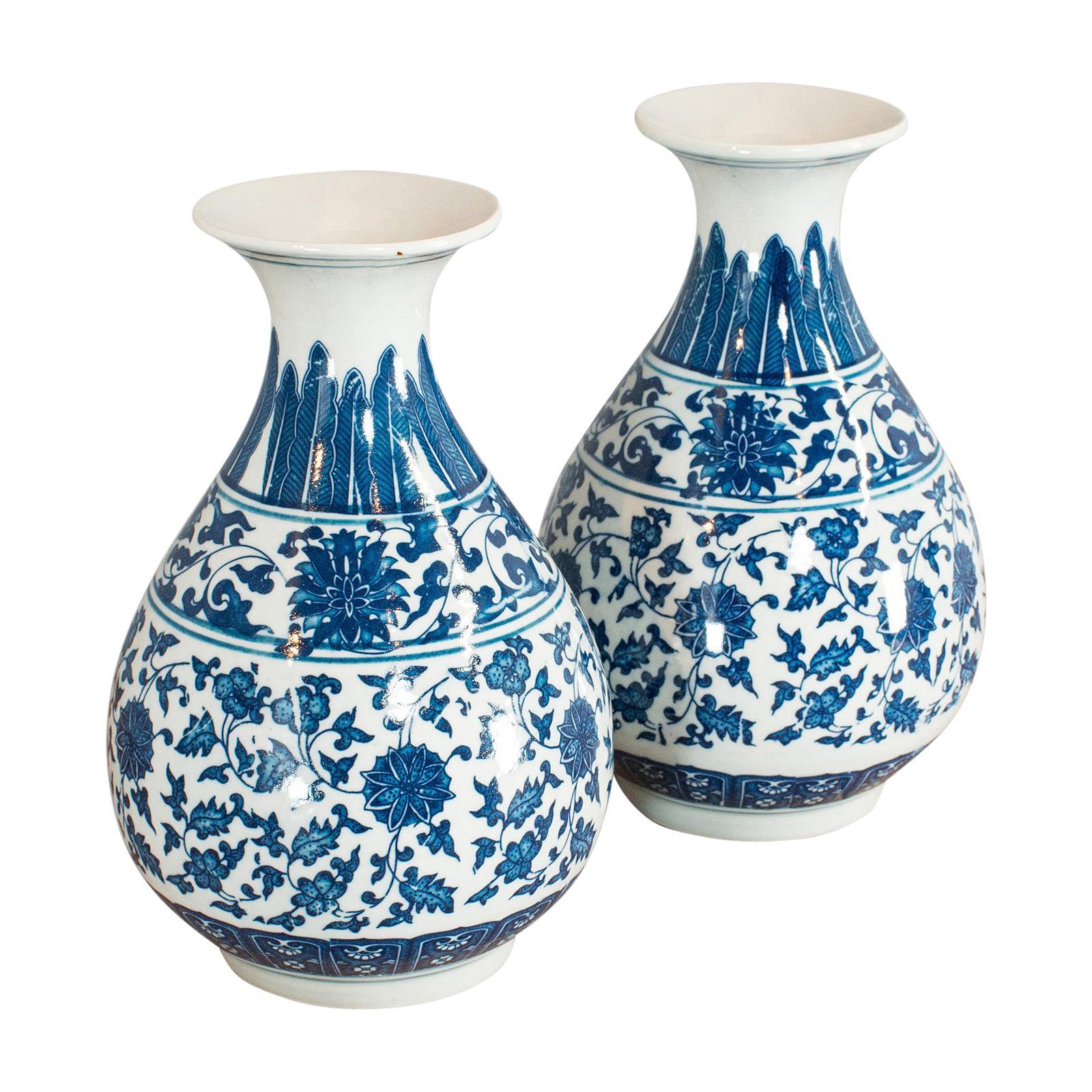 Pair of, Vintage Decorative Vases, Oriental, Ceramic, Baluster Urn, 20th Century