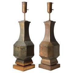 Pair of Vintage Decorator Ceramic Geometric Lamps in manner of James Mont