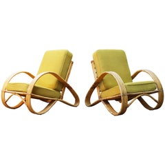 Pair of Vintage Design Rattan Lounge Chairs Designed by Rohe Noordwolde, 1950