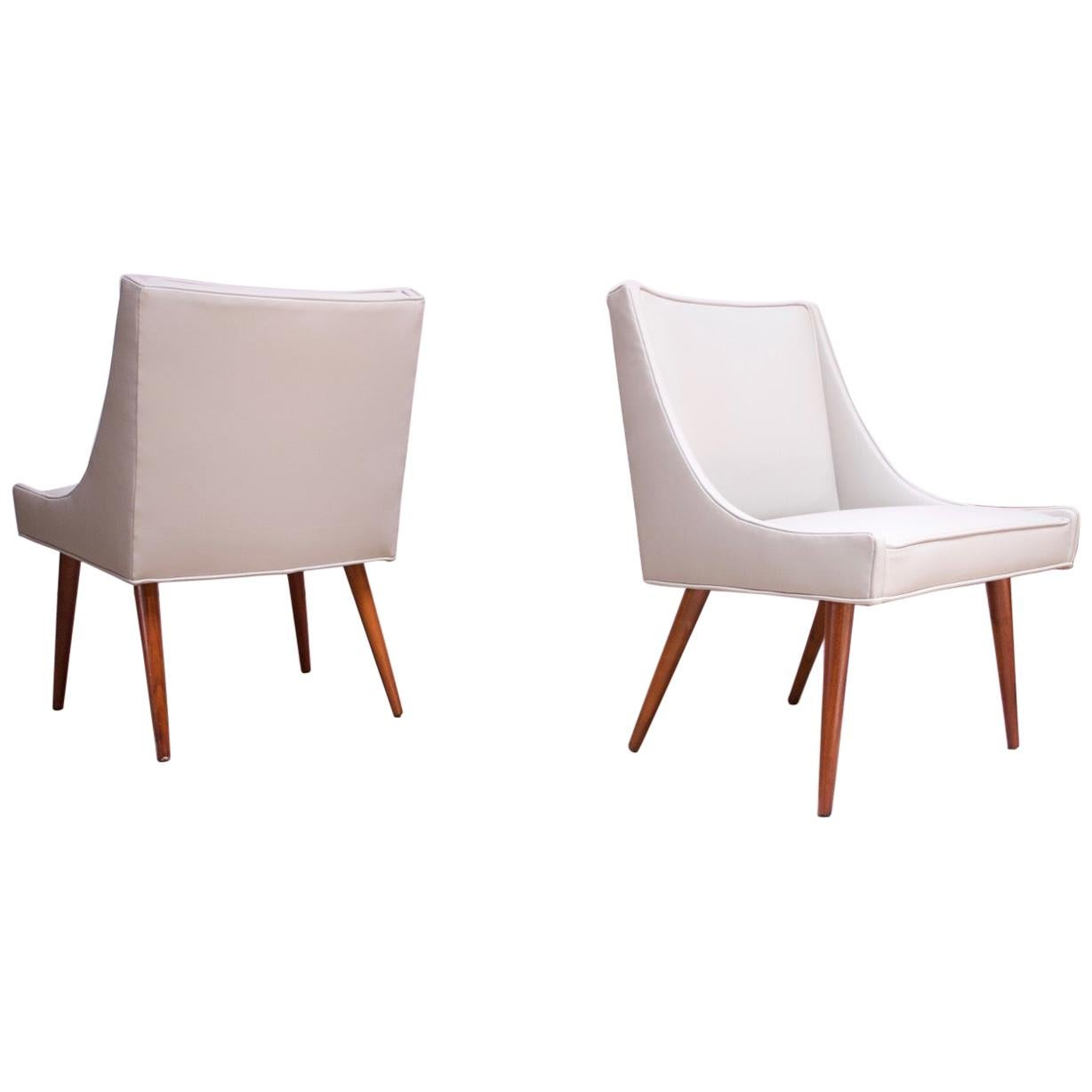 Pair of Vintage Diminutive Walnut and Leather Slipper Chairs by Milo Baughman