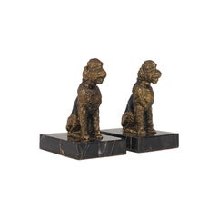 Pair of Vintage Dog Figures, English, Gilt Metal, Airedale Terrier, circa 1980