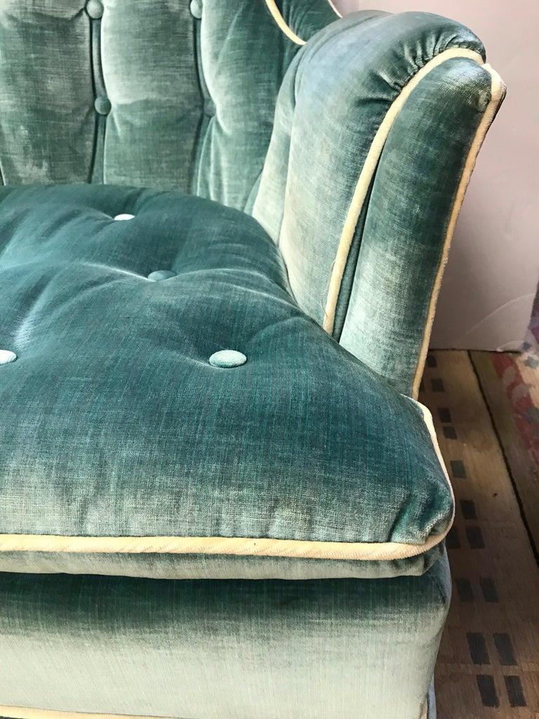 Pair of Vintage Drexel Velvet Tufted Swivel Chairs Rockers For Sale 5