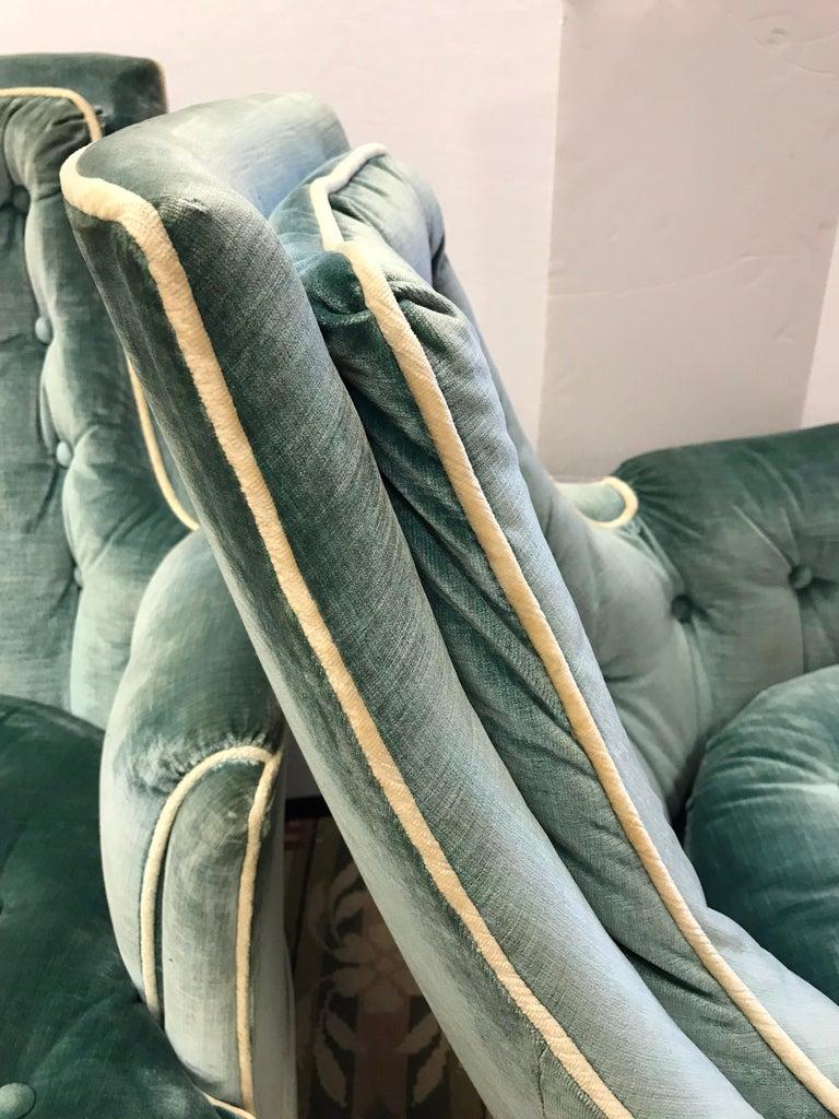Pair of Vintage Drexel Velvet Tufted Swivel Chairs Rockers For Sale 6