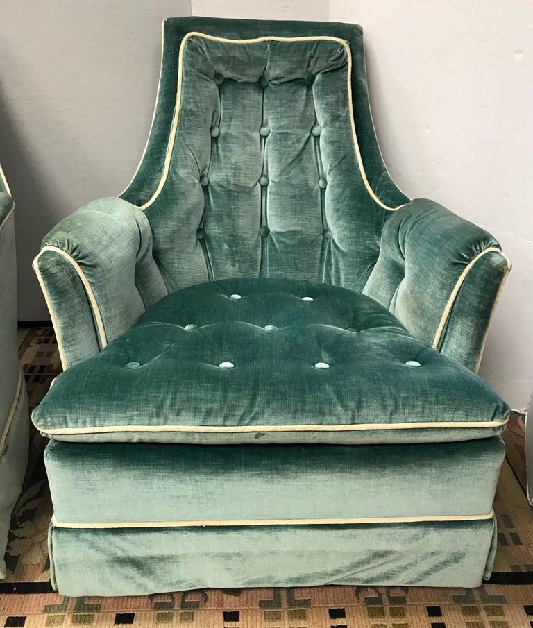 Mid-Century Modern Pair of Vintage Drexel Velvet Tufted Swivel Chairs Rockers For Sale