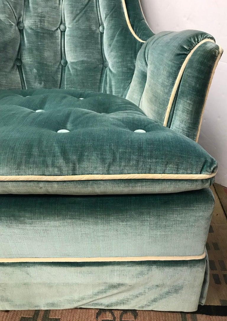 Pair of Vintage Drexel Velvet Tufted Swivel Chairs Rockers For Sale 1
