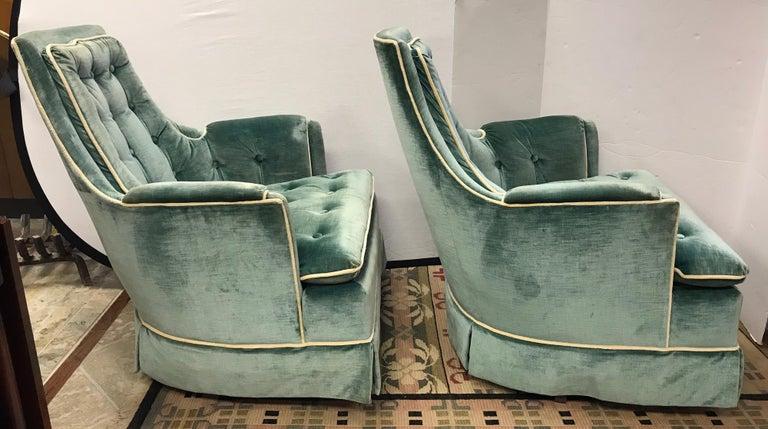 Pair of Vintage Drexel Velvet Tufted Swivel Chairs Rockers For Sale 2