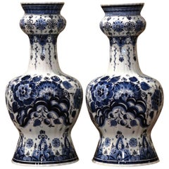 Pair of Vintage Dutch Hand Painted Blue and White Faience Delft Vases