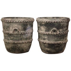 Pair of Vintage Earthenware Planters with Antiqued Verde Finish