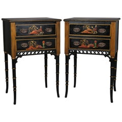 Pair of Vintage Ebonized, Gilt & Hand Painted Chinoiserie 2-Drawer End Stands