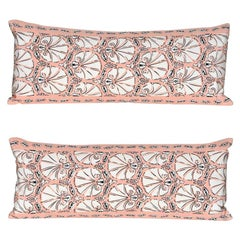 Pair of Vintage Echo Pink Silk Shell Fabric with Irish Linen Cushion Pillow