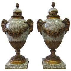Pair of Vintage Empire & Ormolu Urns, circa 1860s