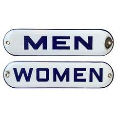Pair of Vintage Enamel Bathroom Signs