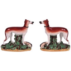 Pair of Vintage English Staffordshire Dogs