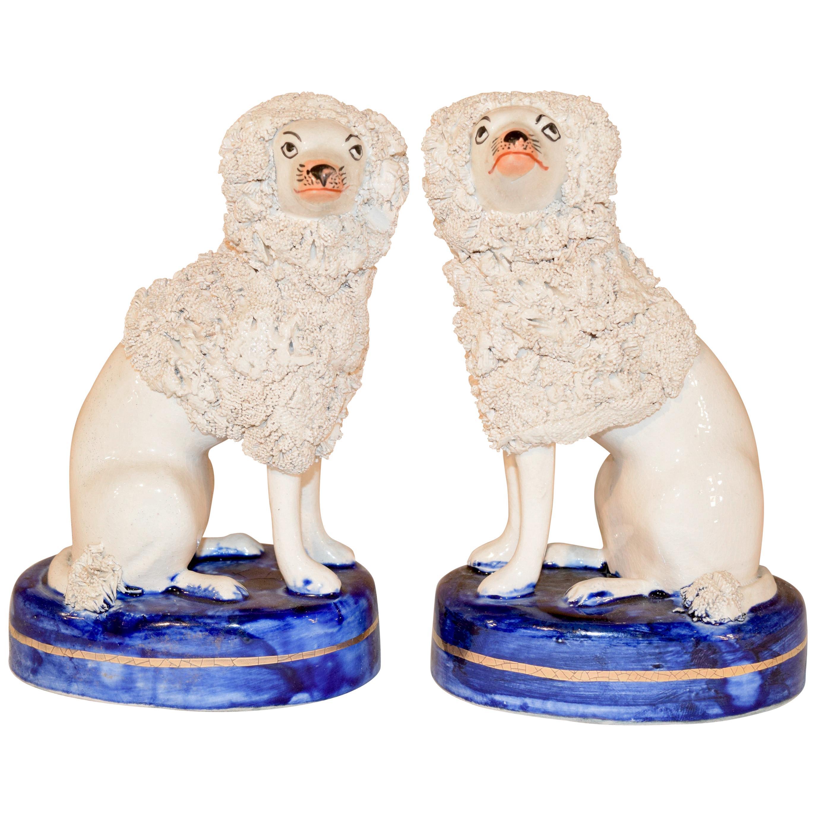 Pair of Vintage English Staffordshire Poodles