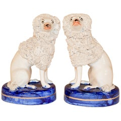 Pair of Vintage English Staffordshire Poodles