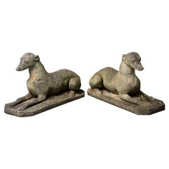 Pair of Vintage English Stone Garden Whippets