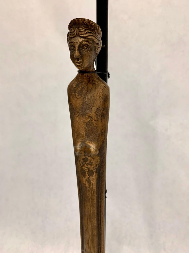 Patina on bronze hand forged Etruscan statues of women. Simple and heavy - custom designed base and shades, silk cable, rewired.