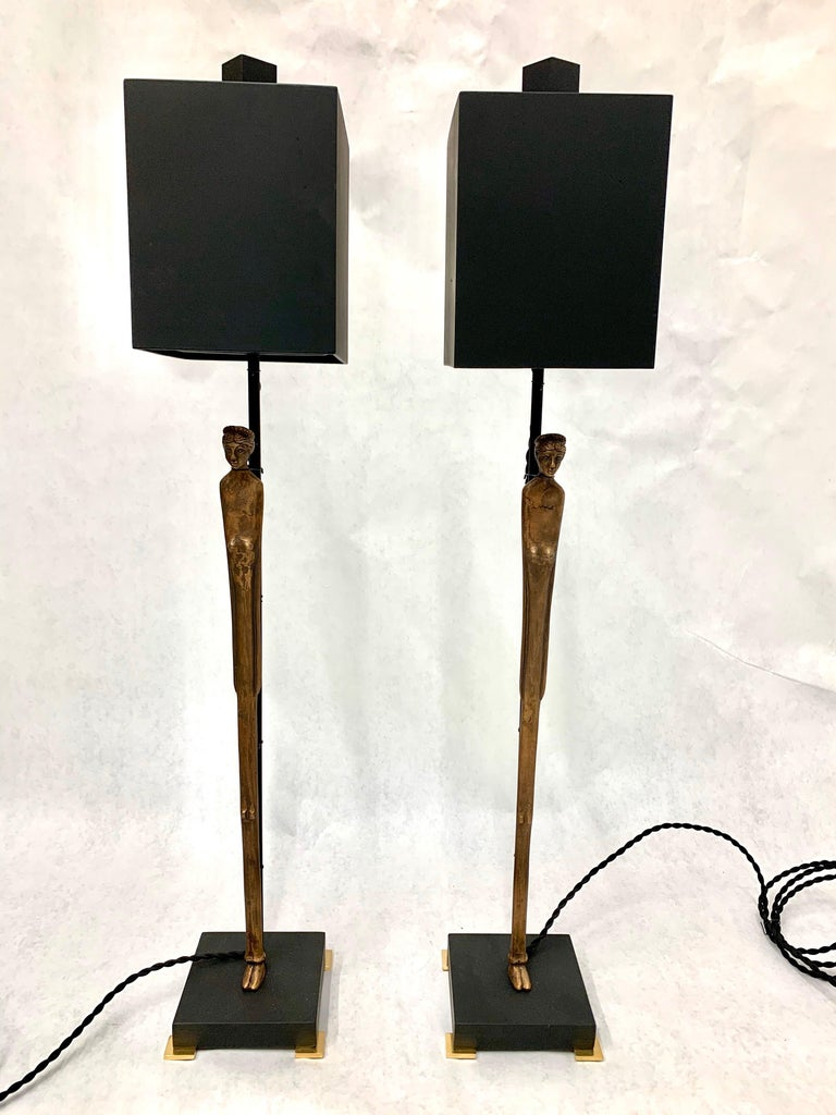 Pair of Vintage Etruscan Bronze Statuette Table Lamps For Sale 3