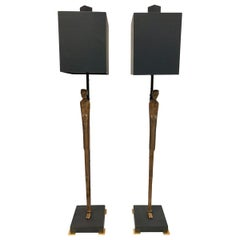 Pair of Vintage Etruscan Bronze Statuette Table Lamps