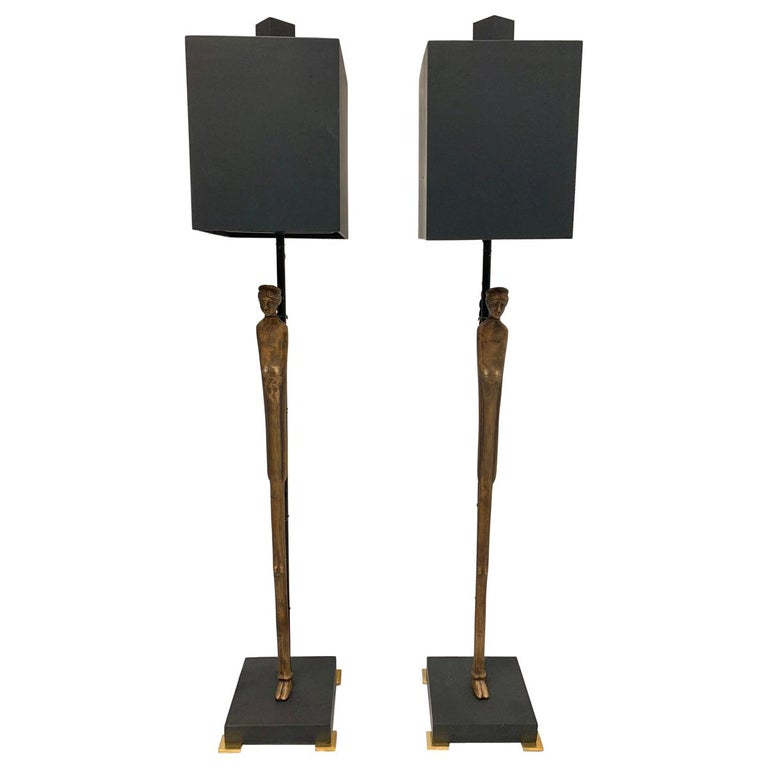 Pair of Vintage Etruscan Bronze Statuette Table Lamps For Sale