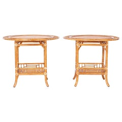 Pair of Vintage Faux Bamboo and Grasscloth Tables