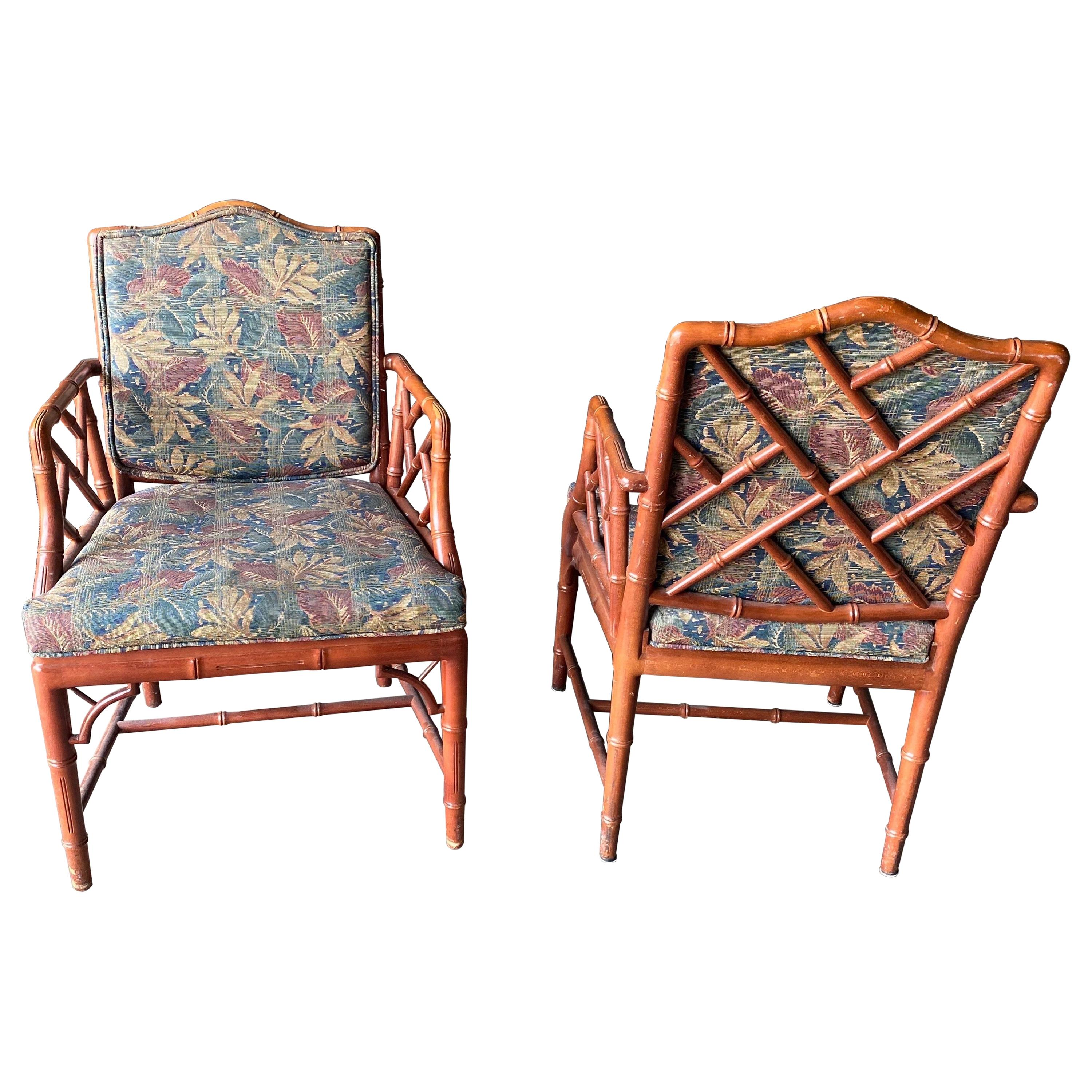 Pair of Vintage Faux Bamboo Arm Chairs, 2 Pairs Available