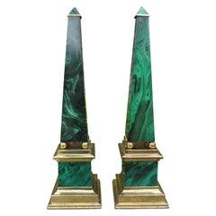 Pair of Vintage Faux Malachite and Brass Obelisks