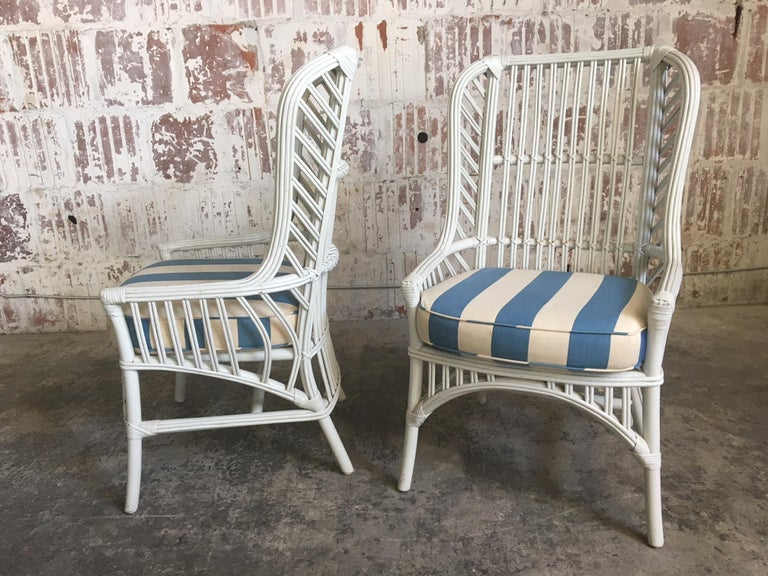 Pair Of Vintage Ficks Reed Rattan High Back Chairs For