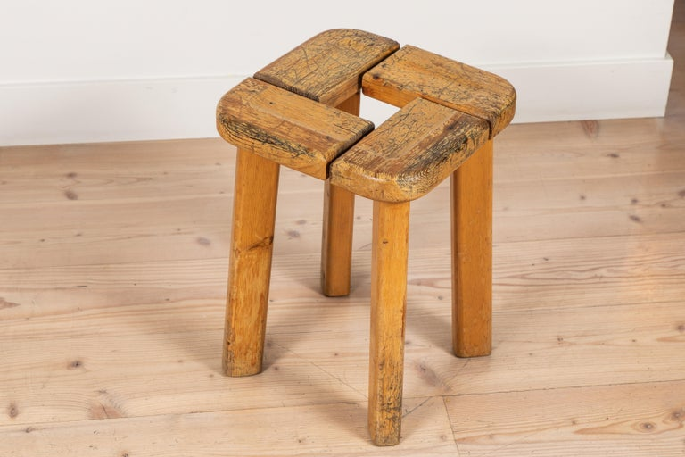 Pair of Vintage Finnish Pine Stools For Sale 2