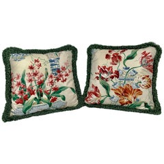 Pair of Vintage Fabric Floral Chinoiserie Chintz Cushions/Pillows