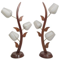 Pair of Vintage Floral-Inspired Lamps