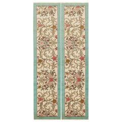 Pair of Vintage Floral Persian Tabriz Runner Rugs