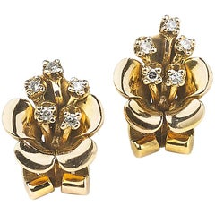 Flower Clip-On Earrings, Circa 1940