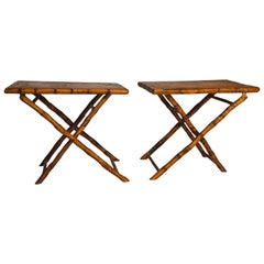 Pair of Vintage Folding Bamboo Side Tables