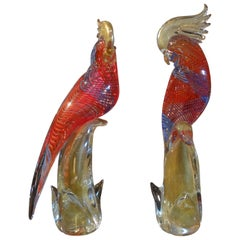 Pair of Vintage Formia Murano Glass Parrots or Cockatoos