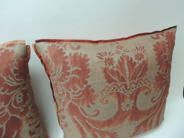 "Pair of Vintage fortuny ""Glicine"" pattern red and silvery decorative square pillows. Accentuated with ATG custom flat trim all around. Sames silk as the backings. Decorative pillows handcrafted and designed in the USA. Closure by stitch (no zipper)"