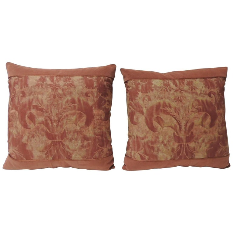 """Pair of Vintage Fortuny """"Glicine"""" Pattern Red and Silvery Decorative Pillows For Sale"""