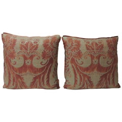 "Pair of Vintage Fortuny ""Glicine"" Pattern Red and Silvery Decorative Pillows"