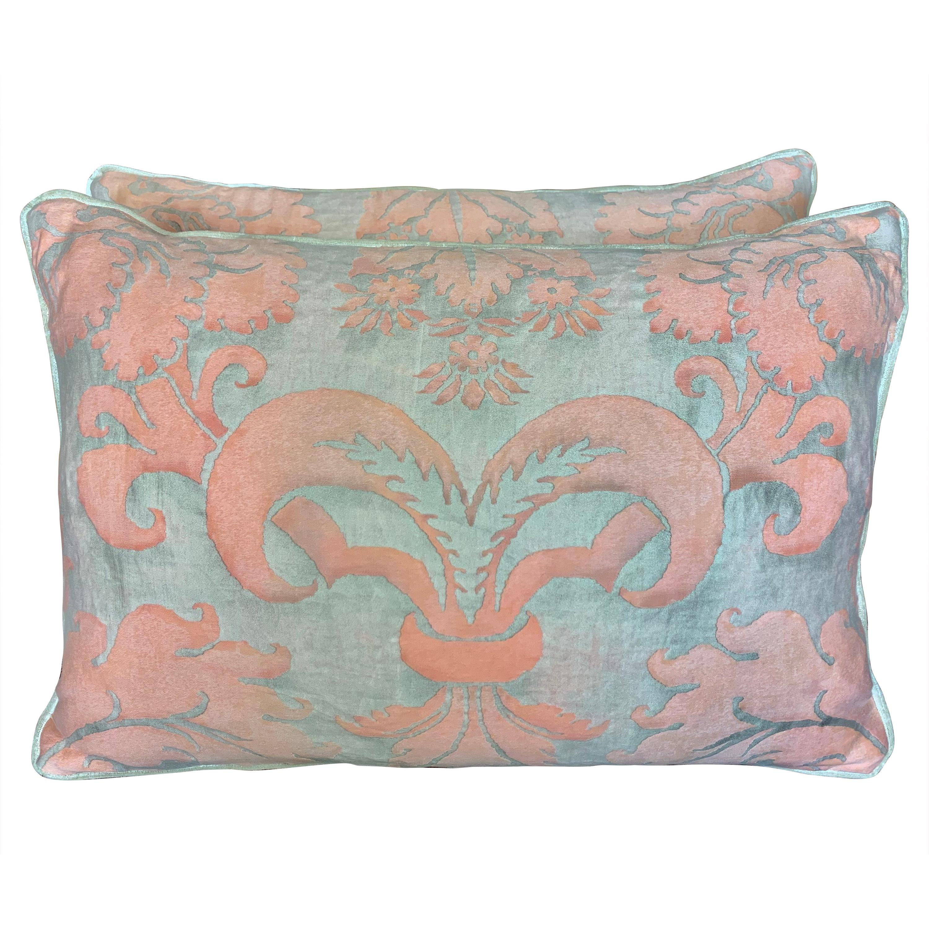 Pair of Vintage Fortuny Glicine Patterned Textile Pillows