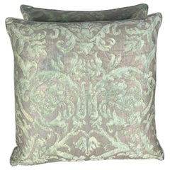 Pair of Vintage Fortuny Green and Silvery Gold Pillows