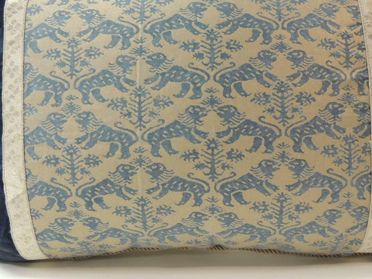 "Regency Pair of Vintage Fortuny ""Richelieu"" Blue on Silver Decorative Bolster Pillows For Sale"