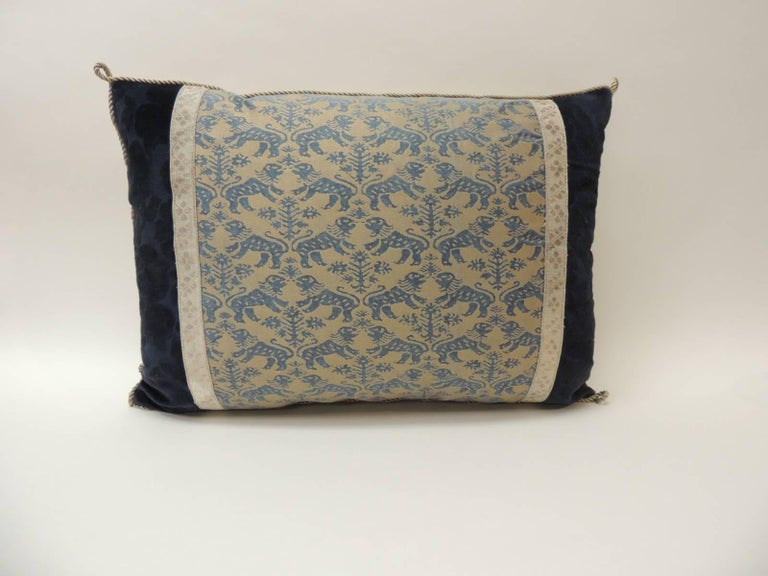 "Italian Pair of Vintage Fortuny ""Richelieu"" Blue on Silver Decorative Bolster Pillows For Sale"