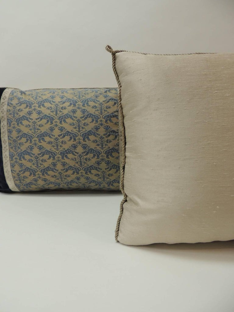 "Hand-Crafted Pair of Vintage Fortuny ""Richelieu"" Blue on Silver Decorative Bolster Pillows For Sale"