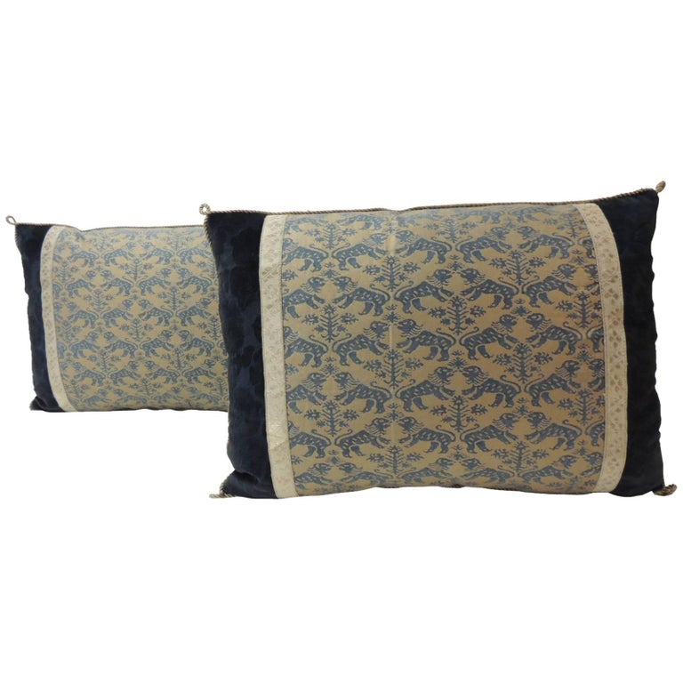 "Pair of Vintage Fortuny ""Richelieu"" Blue on Silver Decorative Bolster Pillows For Sale"