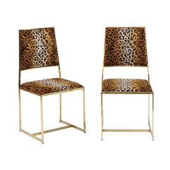 Pair of Vintage French 1970s Animal Print and Brass Side Chairs with Stretcher