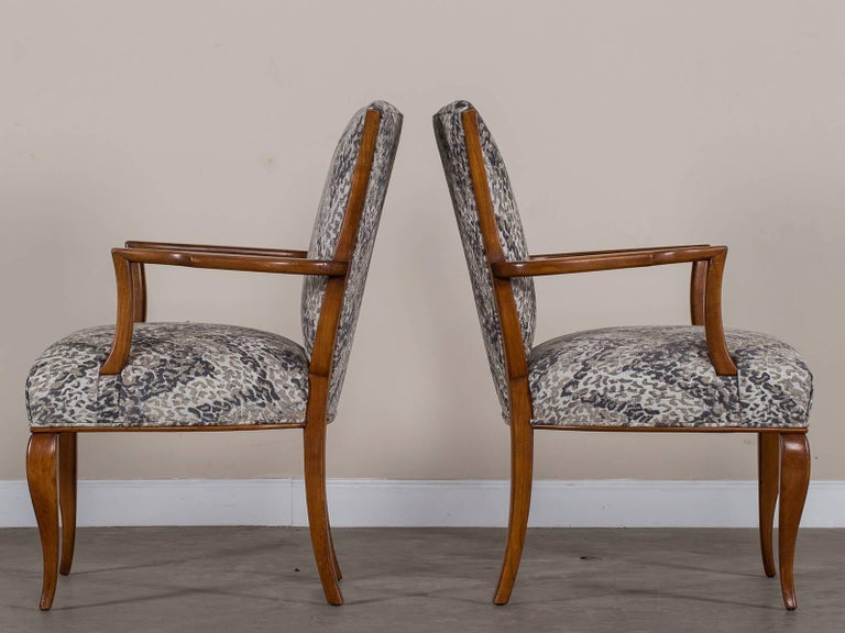 A Pair Of Vintage French Art Deco Beechwood Armchairs Circa 1940 Now Reupholstered In Contemporary