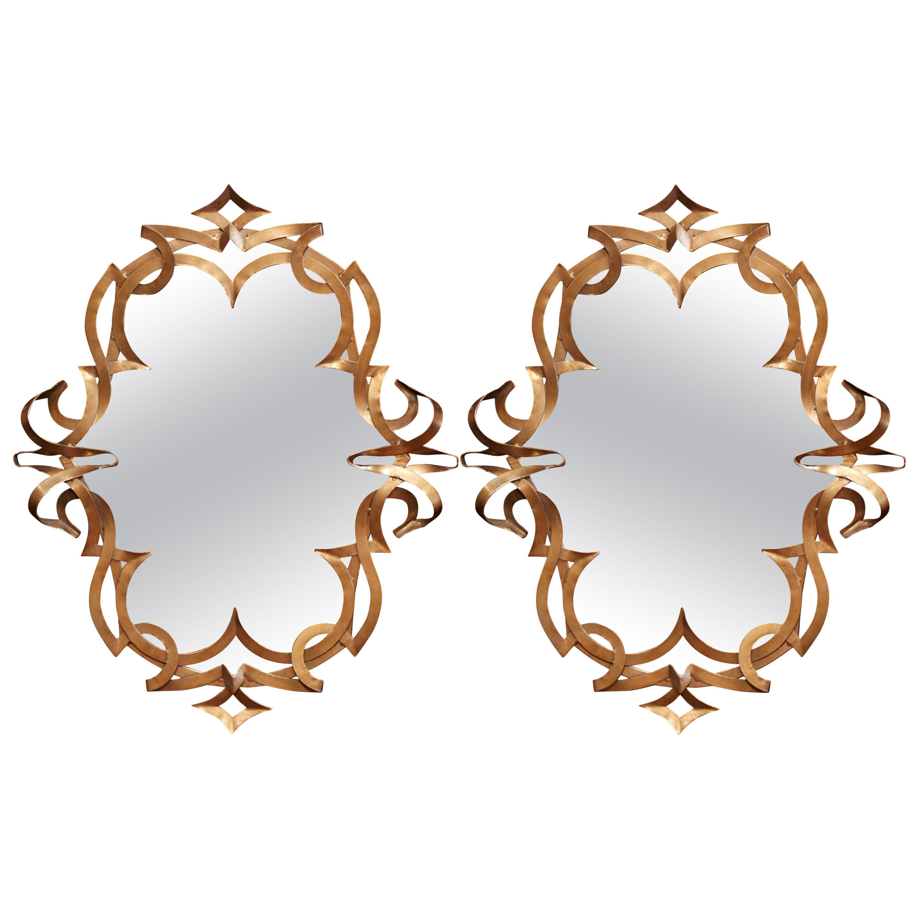 Pair of Vintage French Art Deco Gilt Painted Metal Wall Mirrors