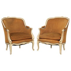 Pair of Vintage French Bergère Chairs in Their Original Paint