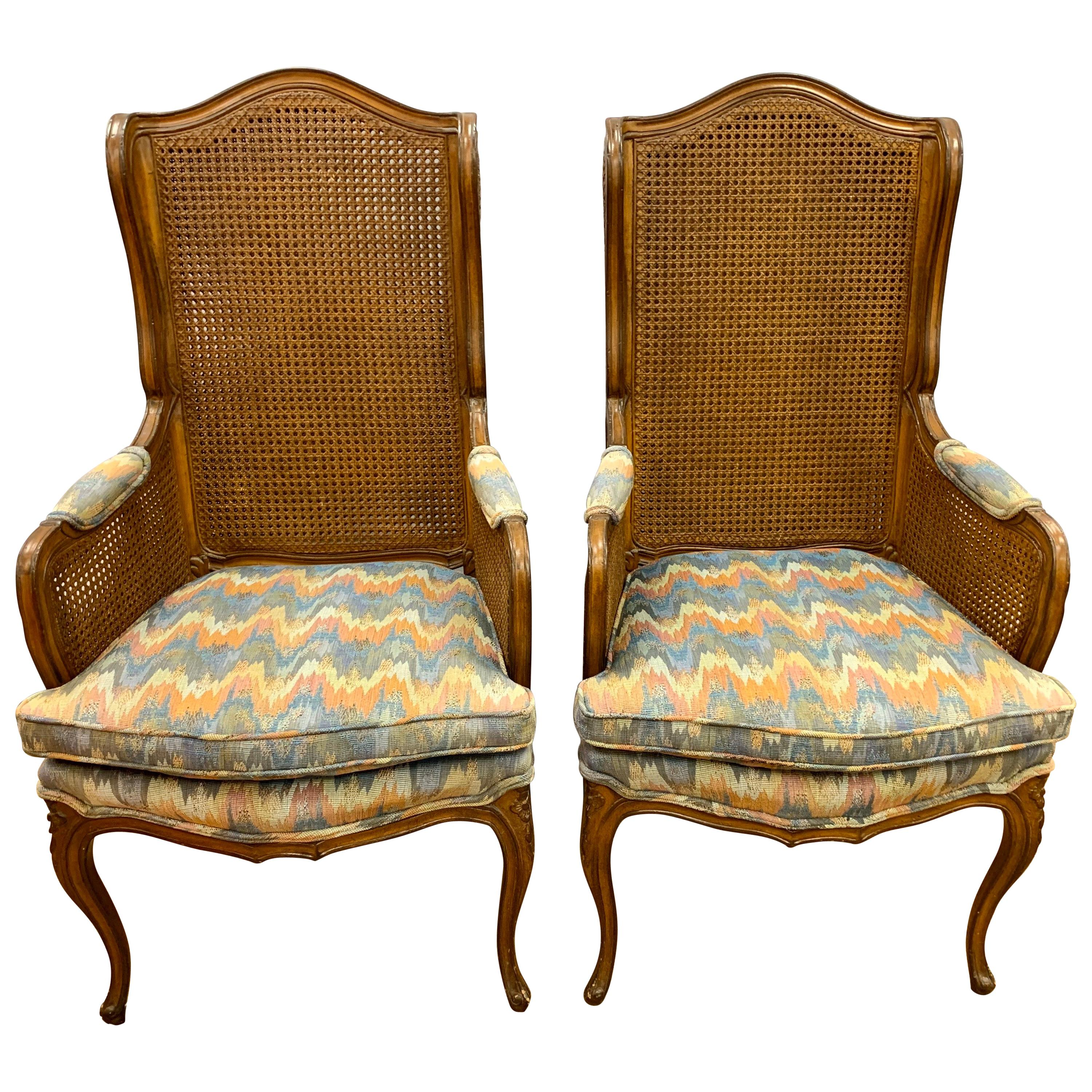 Pair of Vintage French Cane Wing Back Chairs