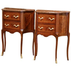 Pair of Vintage French Carved Marquetry Walnut Nightstands with Red Marble Top